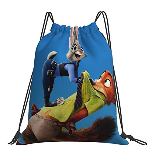 Crazy An-imal City Cottontail Rabbit Red Fox Sack Drawstring Backpack Outdoor Portable Backpacks Large Capacity School Bag Canvas Sports Swimming Travel Beach Unisex Rucksack