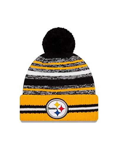New Era Pittsburgh Steelers Bommelmütze Beanie NFL Wintermütze American Football Kinder Sideline Gelb - Youth