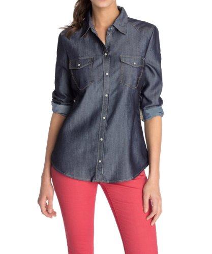 ESPRIT Damen Jeansbluse mit Brusttaschen Hemd, Blau (E Fresh Breeze), 34 (Herstellergröße: XS)