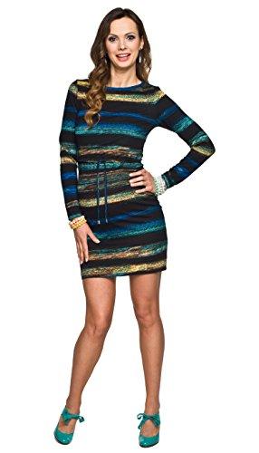Torelle Damen 2in1 Umstandskleid mit Stillfunktion, Modell: MINO, Langarm, schwarz-gelb-türkis, L
