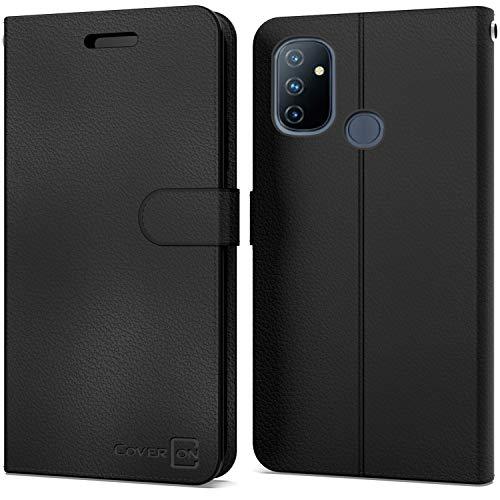 CoverON Schutzhülle für OnePlus Nord N100, Leder, RFID-blockierend, mit Standfunktion, Schwarz