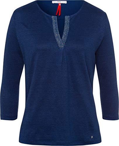 BRAX Damen Style Leinen Bluse, Indigo, Medium