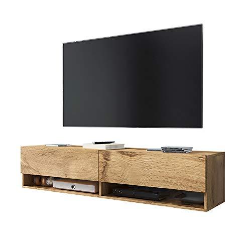 Selsey Wander - Mueble TV Suspendido/Mesa TV/Mueble para Salón (140 cm, sin LED, Roble Dorado)
