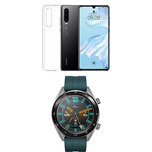 Huawei P30 (Black) più cover trasparente + Huawei Watch GT Active Smartwatch, Verde Scuro