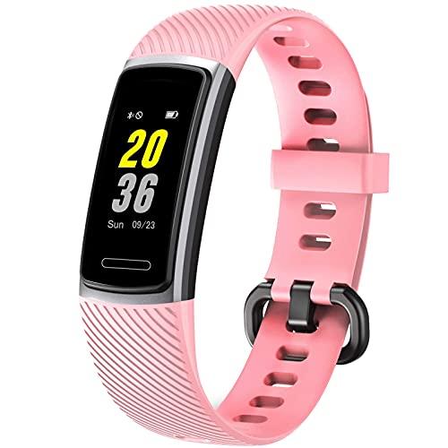 Rastreadores de actividad HR, rastreador de actividad con monitor de frecuencia cardíaca IP68, reloj inteligente, contador de pasos, podómetro, monitor de sueño para mujeres y hombres (rosa)