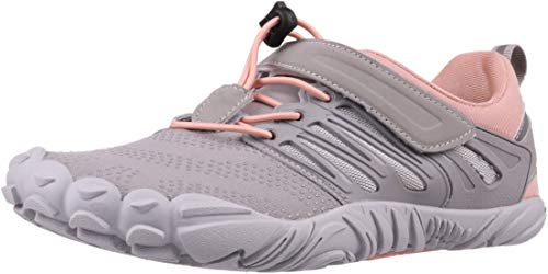 WHITIN Women's Minimalist Barefoot Hiking Shoes Low Zero Drop Trail Running 5 Five Fingers Wide Toe Box for Female Lady Flat Heel Comfort Comfortable Treadmill Grey Pink Size 8.5