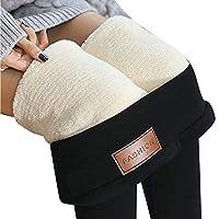 女性のためのおなかコントロールフリース裏地レギンス厚手のハイウエストソフトウォームシームレスヨガパンツ (Color : A, Size : XXL)