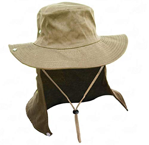 Chapéu Caqui Com Proteção De Pescoço Australiano Poliéster Camping Pesca