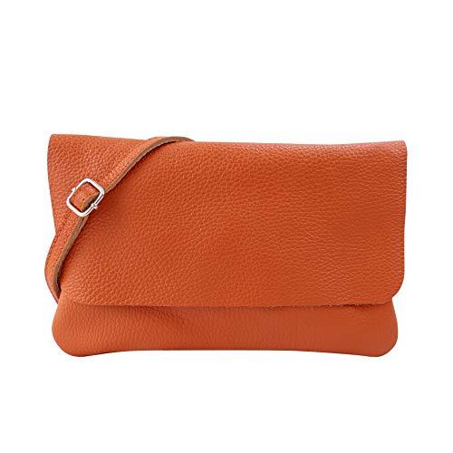 SH Leder Echtleder Umhängetasche Clutch kleine Tasche Abendtasche 24,50x15cm Ely G149 (Orange)
