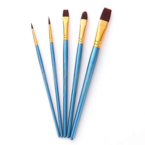 KDEKIFN 5 unids/Lote Acuarela Pincel Conjunto Manera de Madera Nylon Pinte Brush Pen Professional Pintura al óleo Herramienta de Dibujo Suministros de Arte (Color : C)