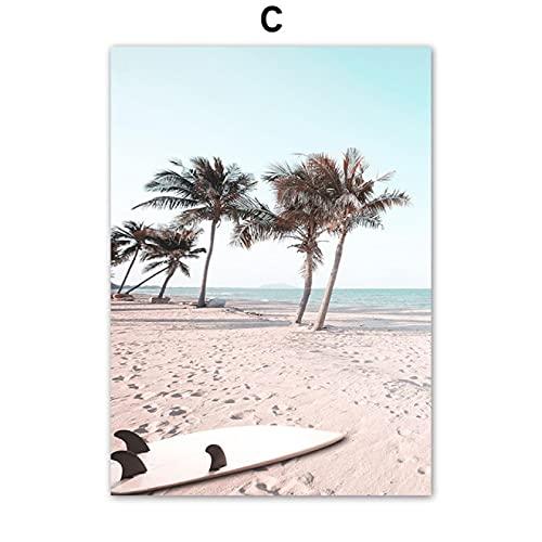 SIGNLEADER Impresión de Lienzo Tropical Sea Beach Starfish Tabla de Surf Flamingo Wall Art Carteles e Impresiones nórdicos para la decoración de la Pared de la Sala de Estar 60X90CM