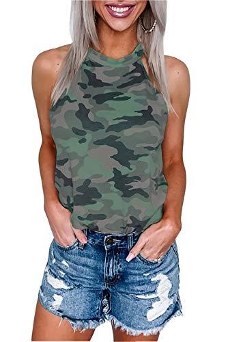 Damen Bluse Top Tank Neckholder Schulterfrei Sommer Shirt Tops (M, Armeegrün)
