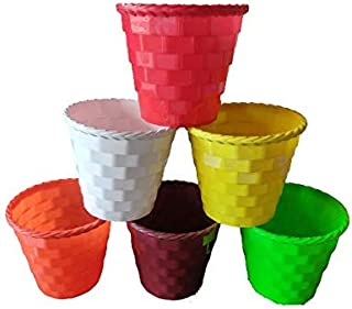 """Brick Style Pot/Plant Container/Planter 8"""", 100%Virgin Plastic (Pack of 6)"""