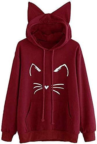Sweatshirt Toimoth Womens Cat Ear Solid Long Sleeve Hoodie Sweatshirt Hooded Pullover Tops Blouse product image