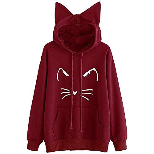 GreatestPAK Damen Hoodie Katze Ohr Solid Sweatshirt mit Kapuze Pullover Langarm Tops Bluse