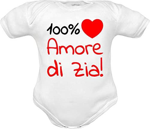 body neonato manica corta frase 100% amore di zia e cuore rosso - idea regalo divertente nascita nipote (body Zia bianco mm, 0-3 mesi)