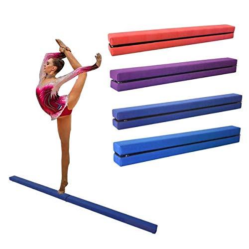 Dripex - Viga de equilibrio de gimnasia plegable para niños, entrenamiento de piel sintética, 210 cm, Bleu foncé