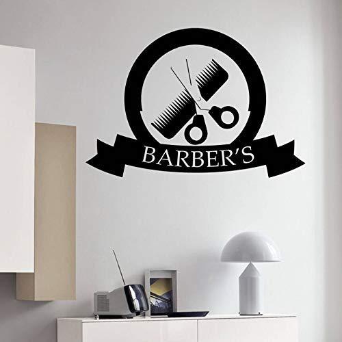Beauty Salon Decor Barber Gereedschap Kam Schaar Muursticker Barbershop Decoratie Verwijderbare Haarsalon Logo Vinyl Decal A 57 * 39cm