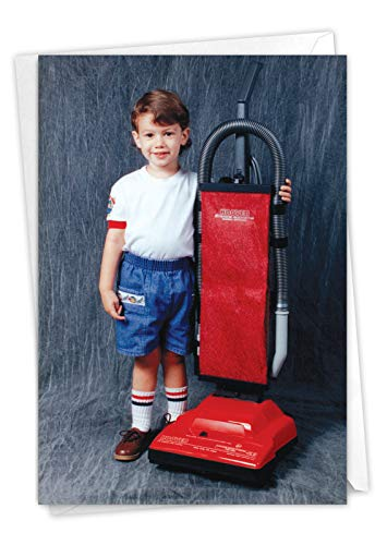 Vacuum Boy - Vintage Boy's Happy Birthday Card with Envelope (4.63 x 6.75 Inch) - Cute Kid, Funny Bday Greeting Note Card for Men, Boy, Brother - Retro Stationery Notecard for Birthdays C6423BDG