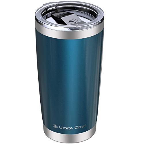Umite Chef 20oz Tumbler, Stainless Steel Vacuum Insulated Double Wall Travel Mug Tumbler with Splash Proof Sliding Lid , Durable Insulated Coffee Mug, Rose Gold, Thermal Cup (Blue Green)