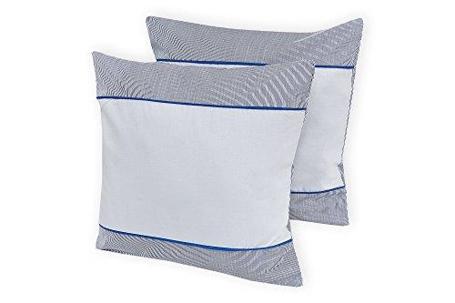 KraftKids Kissenbezug Unigrau dünne Streifen dunkelblau