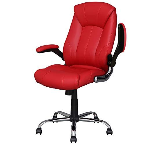 アイリスプラザ オフィスチェア 跳ね上げ式アームレスト 肉厚クッション 社長椅子 リクライニング ロッキング機能 無段階昇降 HLC-0805 レザーレッド