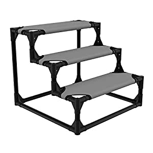 Veehoo Sturdy Pet Steps – Pet Stairs for Small Dogs and Cats, Doggie, Puppy and Older Cats Step for High Bed Couch, Silver Gray