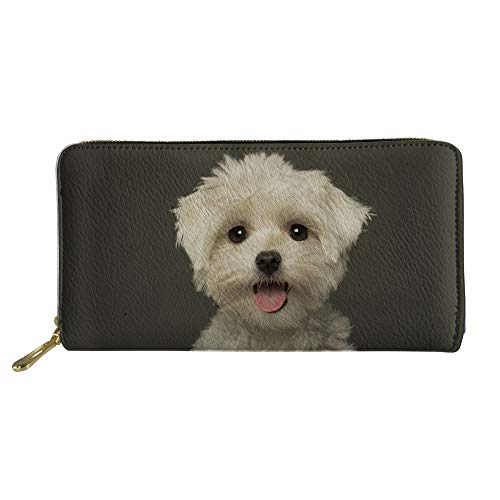 HUGS IDEA Women Wallet Purse Clutch Ladies Handbag Cute Bichon Frise Dog Pattern Zipper Wallets