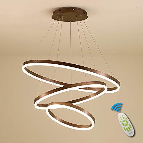 75W LED Runde Hängeleuchte Dimmbar mit Fernbedienung Schlafzimmer Kronleuchter 3 Ringe Pendelleuchte Brown Modern Hängelampe Metall Acryl Pendellampe Wohnzimmer Leuchte Esszimmer Lampe Φ20+40+60cm