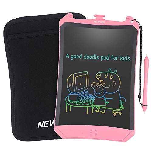 NEWYES 8.5 Inch LCD Writing Tablet- Electronic Writing Doodle pad Drawing Board Gifts for Kids Office Writing Board - Erase Button Lock Included (Pink-Colorful)