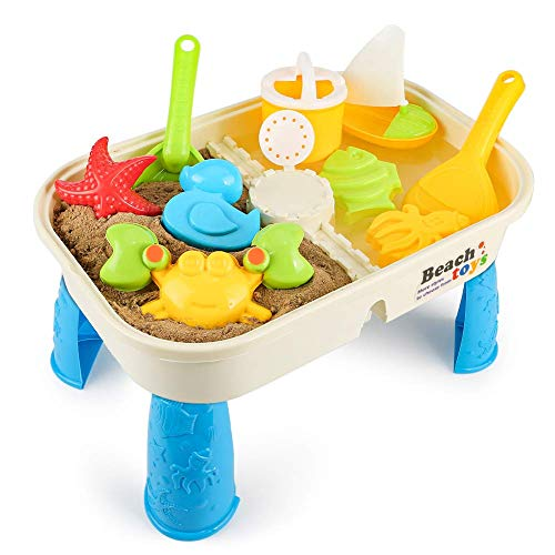 COOLOOK 10 Pieces Beach Sant Toy Set with Activity Table