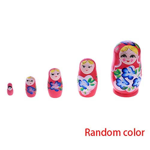 5 stks Russische Nesting Houten Matroesjka Poppen Set Handgeschilderde Ornament Baby Speelgoed Meisje Pop Decor