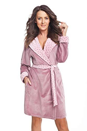 DOROTA trendiger und gemütlicher Damen Baumwoll-Bademantel mit Kapuze und Jackentaschen, made in EU, puderrosa-Schwalben, Gr. M