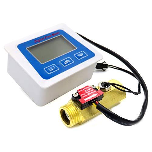 Catyrre Digitale LCD-Anzeige Wasserdurchflusssensor Durchflussmesser Rotameter Temperatur