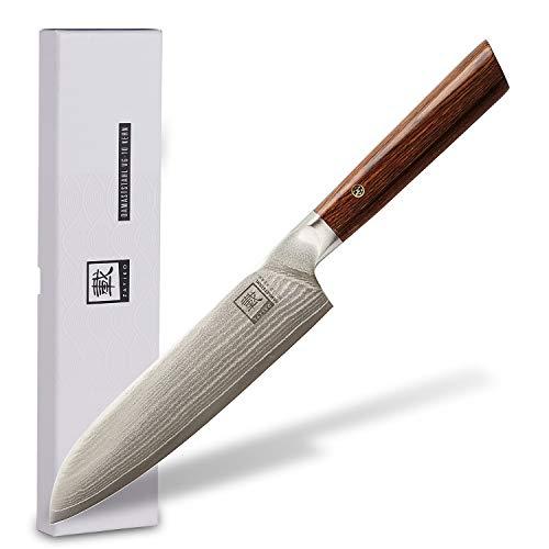 zayiko Kass Damastmesser Santoku Messer 17,70 cm Klinge extrem scharf aus 67 Lagen I Damast Küchenmesser und Profi Kochmesser aus echtem japanischen Damaststahl mit Pakkaholz Griff
