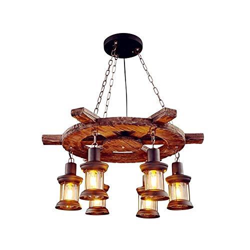 Chandelier de granja Botón fijo Cadena de colgarra de araña de madera + metal + Material de vidrio Ahorro de energía LED bombilla Equipo de iluminación Adecuado for barra de techo Sala de estar Mesa d