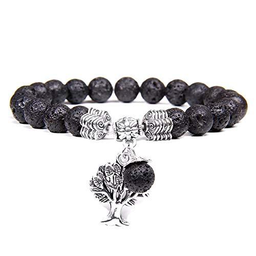 K-ONE Women Bracelets Men Charm Natural Tiger Eye Gem Stone Tree Of Life Bracelets Healing Energy Mala Yoga Bracelet Jewelry