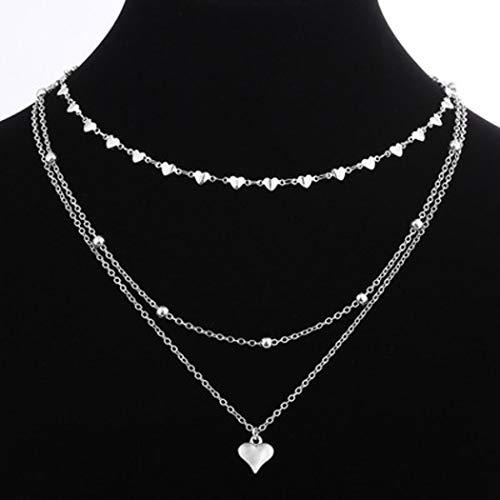 Jovono Boho Multistrato Ciondolo Cuore Collane Perline Moda Collana Catena Gioielli per donne e ragazze (argento)