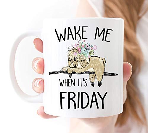 Thomas655 Faultier koffiemok Wekken Sie Mich auf wenn Zijn vrijdag-valdier beker mok valdier geschenk voor haar grappige luier mok liefhebbers cadeaus