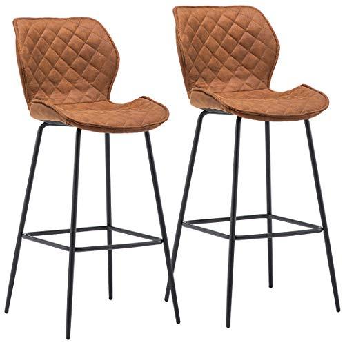 Duhome 2X Barhocker Barstuhl aus Stoff Samt Gestell aus Metall Sitzhöhe 75 cm Tresenhocker Bar Sessel gut gepolstert mit Lehne Farbauswahl 5180V, Farbe:Orange-Braun, Material:Lederoptik