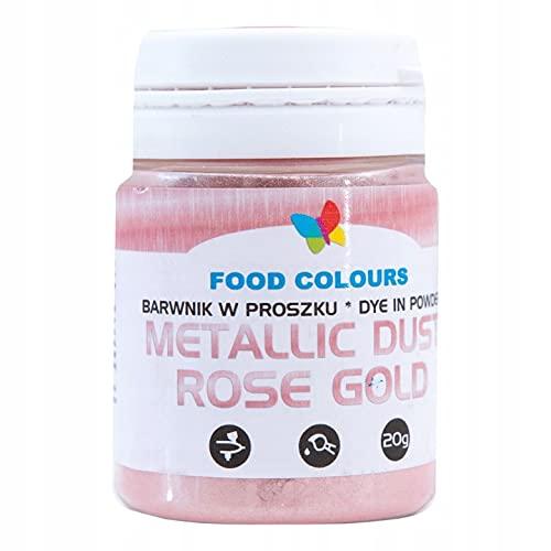 Food Colours Poland   Barwnik Spożywczy   Brokat w Proszku   Pyłek Metaliczny   20 g   ROSE GOLD   Złoty Róż