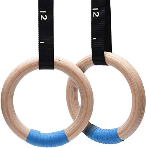 WXWS Wooden Birch Grey Gymnastics Rings 1500lbs with 15ft Heavy Duty Straps