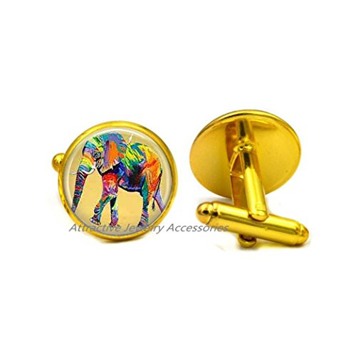 Wkloavmg Elephant Cufflinks,Lucky Elephant Cufflinks, Bridesmaid Gifts, BFF, Elephant Jewelry, Jewelry for Girls,QK024 (Q3)