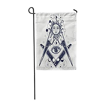 heigudan Masonic Symbol Tattoo and All Seeing Eye Alchemy Medieval Religion Occultism Spirituality Esoteric Magic Mysteries Polyester Outdoor Flag Home Party Garden Flag 27.5x39.3 Inch