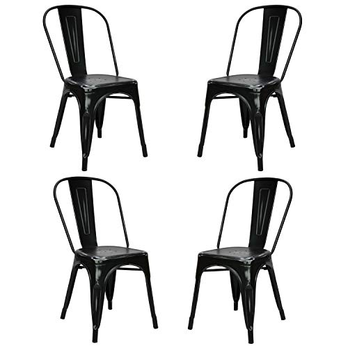 Vaukura Silla Tolix (Pack 4) - Silla Industrial Metálica Vintage (Negro)