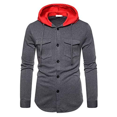Men's Hooded Shirt Long Sleeve Hoodie Casual Button V-Neck Hooded Jacket Top Spring Classic All-Match Hoodies Tops XL