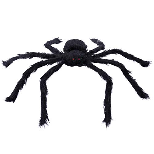 Tinksky 20' Black Large Spider Plush Toy Realistic Hairy Spider Halloween Party Scary Decoration Haunted House Prop Indoor Outdoor Yard Decor