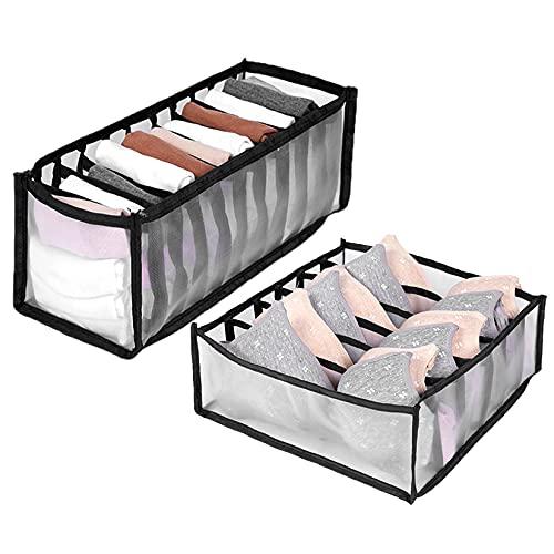 Jiyaru 下着収納ボックス 仕切り 2点セット 仕切りケース 引き出し 下着収納ケース 折りたたみ 靴下収納ボックス 下着 小物収納ボックス 小物 防塵 小物収納ケース 仕切りボックス 小分け 整理用 収納 多機能 ブラック 6ビン+11ビン
