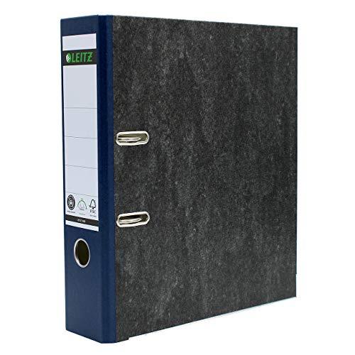 Leitz Qualitäts-Ordner, A4, klimaneutral, 80 mm Rückenbreite, blauer Rücken, Wolkenmarmor-Papier, 10805035