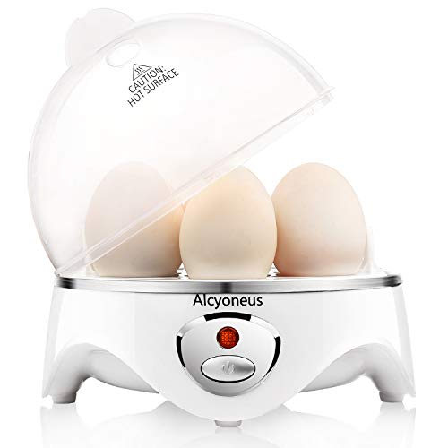 Alcyoneus Egg Cooker, Egg Boiler Electric, Hard Boiled Egg Maker with Auto Shut Off, Noise-Free & 7-Capacity, Suitable for Poached Egg, Scrambled Eggs, Omelets - White